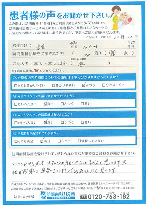 東京都在住 74歳 男性