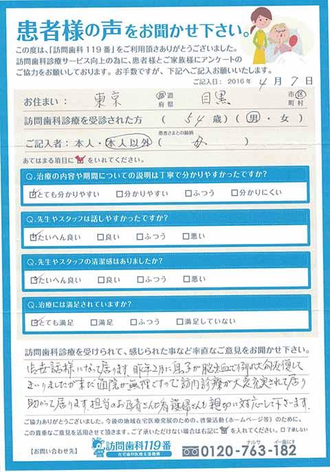東京都目黒区在住 54歳 男性