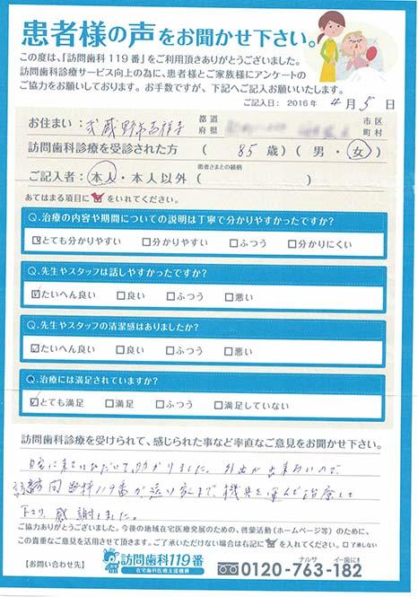 東京都武蔵野市在住 85歳 女性