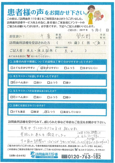 千葉県習志野市在住 76歳 女性