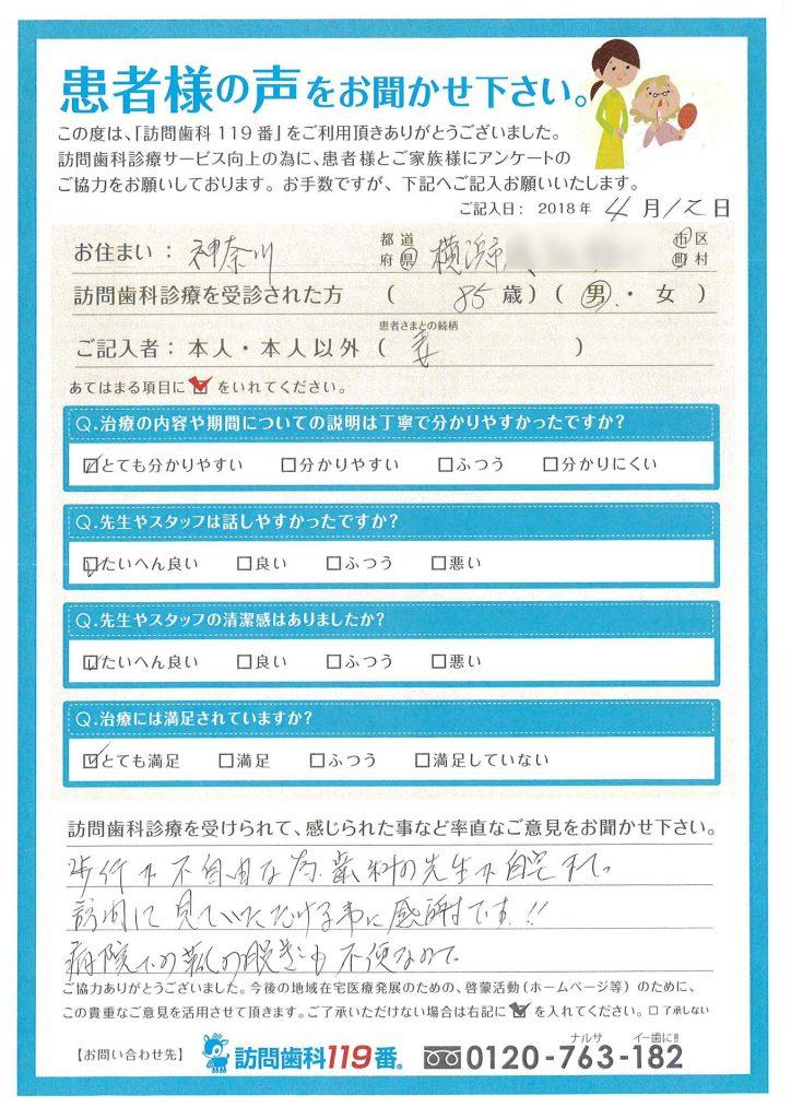 神奈川県横浜市 患者様の奥様より