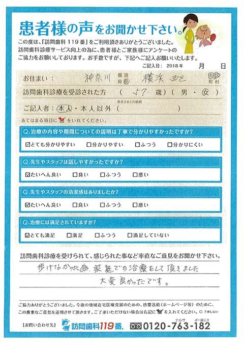 神奈川県横浜市西区 患者様ご本人様より